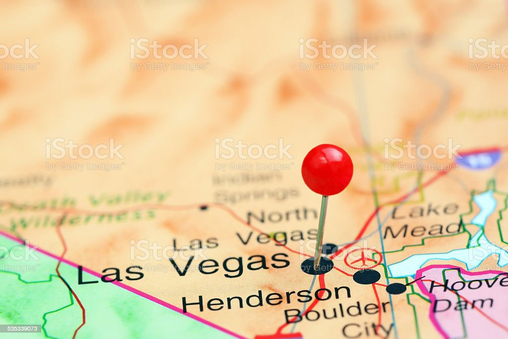 Las Vegas pinned on a map of USA stock photo