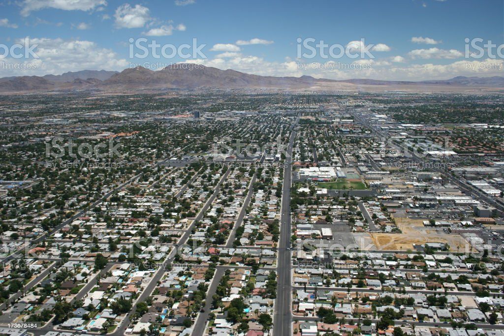 Las Vegas residences aerial view stock photo