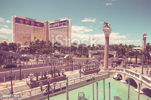 Las Vegas, Nevada, USA - May 18, 2017:  View of The Venetian and Mirage Hotel Resort and Casino along the Vegas Strip on a sunny day. This image has a vintage tone.