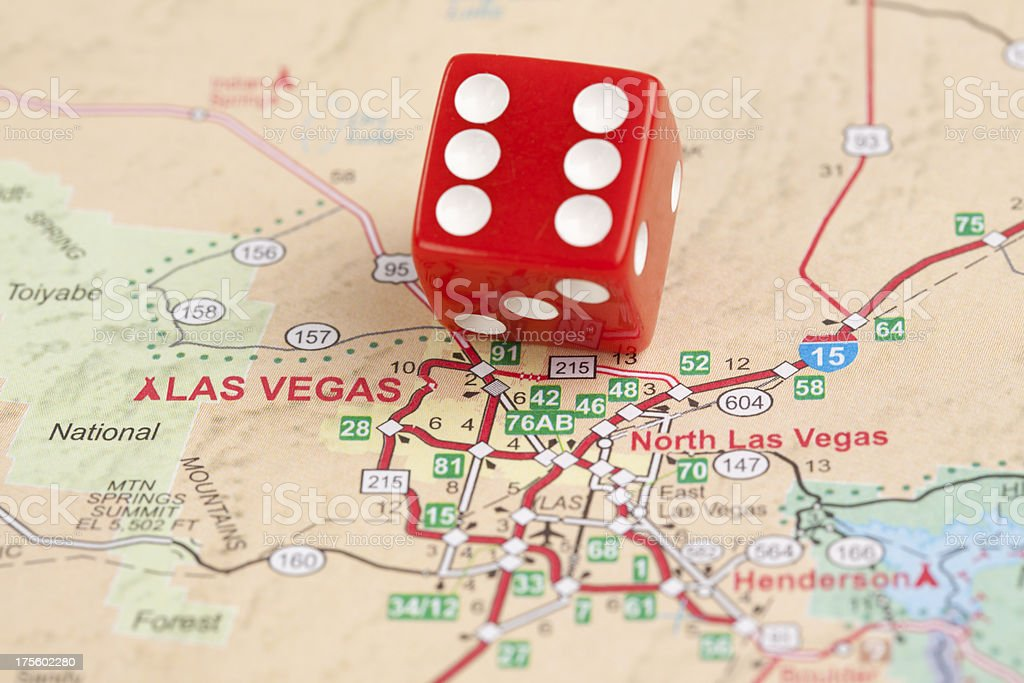 Las Vegas Road Map with Dice stock photo