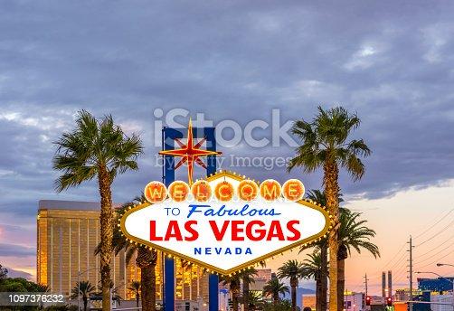 Las vegas sign at the begining of the strip at  sunset. Las Vegas, Nevada. USA