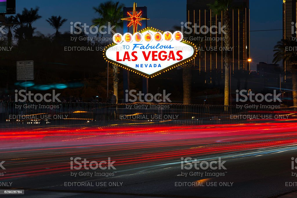 Las Vegas Sign with night traffic stock photo