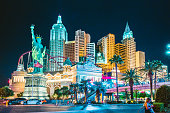 LAS VEGAS, USA - September 20, 2016: Colorful Downtown Las Vegas with world famous Strip and New York New York hotel and casino complex illuminated beautifully at night, Nevada, USA