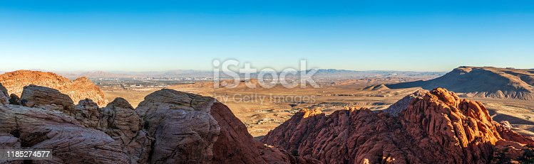 Las Vegas skyline  and valley looking from Red Rock Canyon