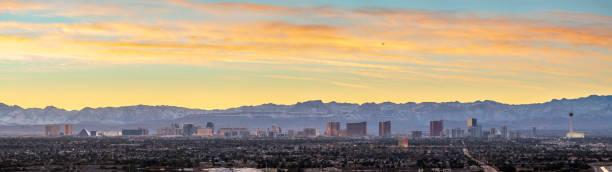 Las Vegas skyline panorama at twilight stock photo