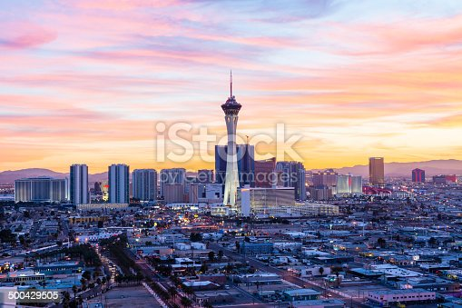 Las Vegas skyline at sunset.