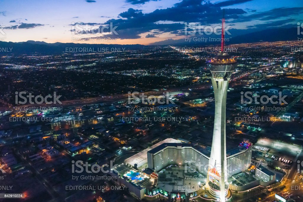 Las Vegas Stratosphere Tower at Night Aerial View stock photo