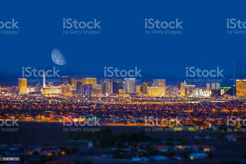Las Vegas Strip and Moon stock photo