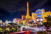 17 october 2018, Las Vegas - Nevada: Long exposure view of Las Vegas Strip city life at night. Nevada. USA