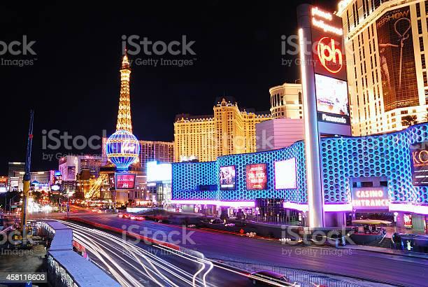 Las Vegas Strip At Night Stock Photo - Download Image Now