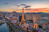 Aerial view of Las Vegas strip at sunrise on July 24, 2018 in Las Vegas, Nevada. Las Vegas is one of the top tourist destinations in the world.