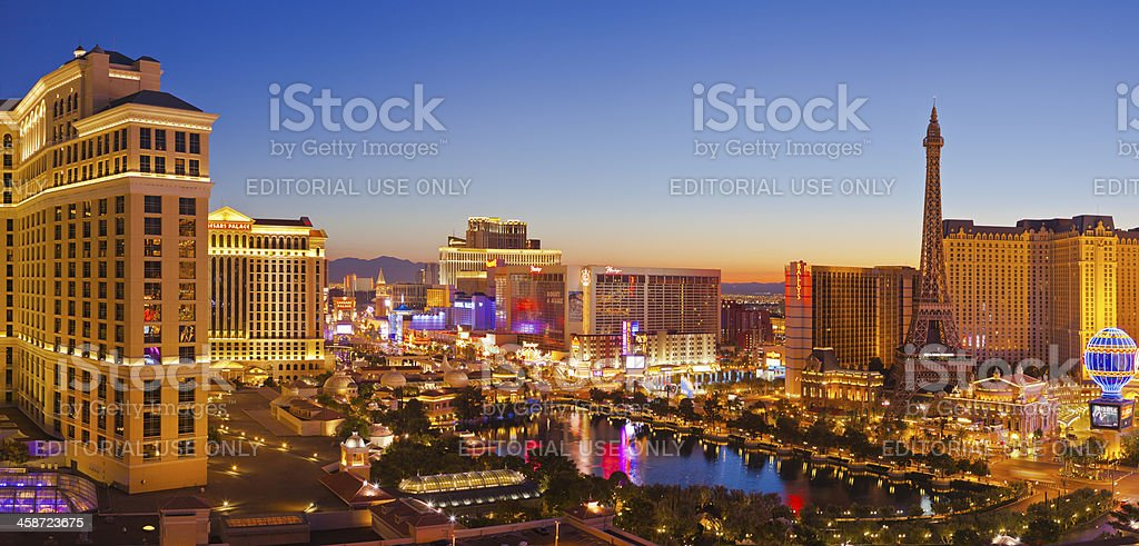 Las Vegas strip at sunrise. stock photo