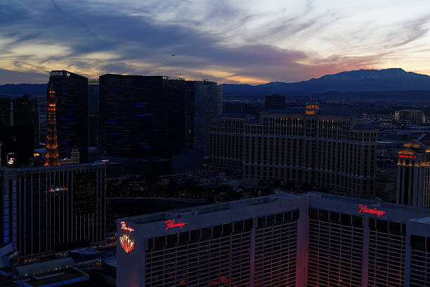 Las Vegas Strip at sunset from the Highroller stock photo