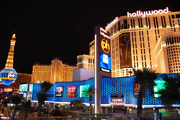 Las Vegas Strip Hotels Casinos Colorful Signs stock photo