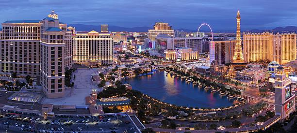 Las Vegas Strip Panorama at Night stock photo