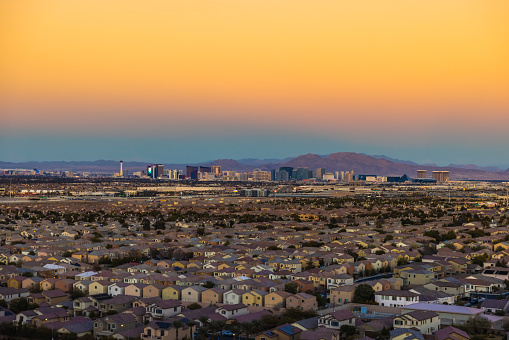 The Las Vegas Strip seen in the distance with the suburbs in the foreground.
