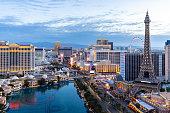 cityscape Las Vegas strip Aerial view in Nevada dawn sunrise twilight USA