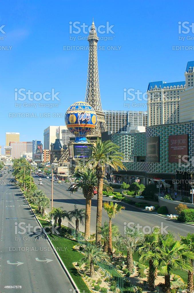 Las Vegas strip with Paris hotel and casino, Nevada royalty-free stock photo