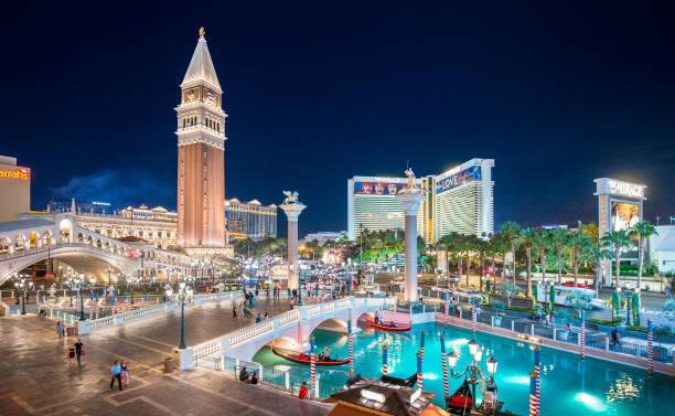 Las Vegas Strip with The Venetian Resort Hotel illuminated at night, Nevada, USA stock photo
