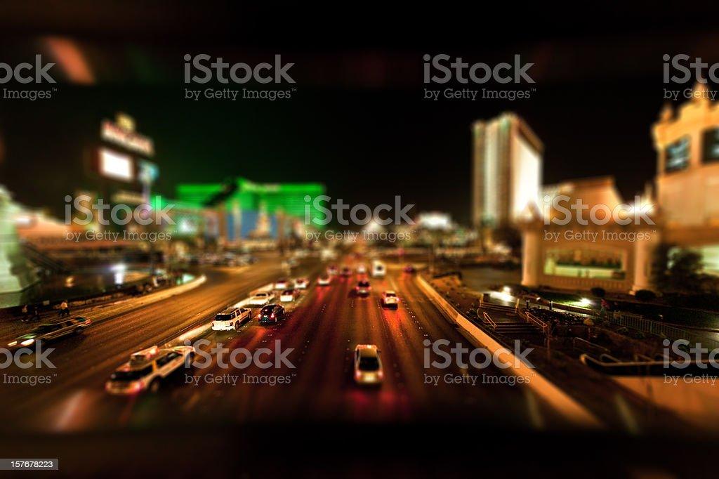 Las Vegas The Strip by Night, Tilt Shift Nobody royalty-free stock photo