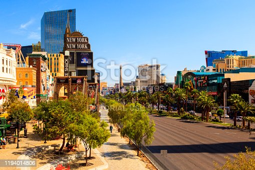 Las Vegas USA - July 7, 2015:  View of the Las Vegas Strip's hotels and casinos on a sunny day. Over 40 million people visiting annually