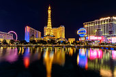 Las Vegas, USA - July 12 2014: Night illumination on Las Vegas Strip, Nevada,