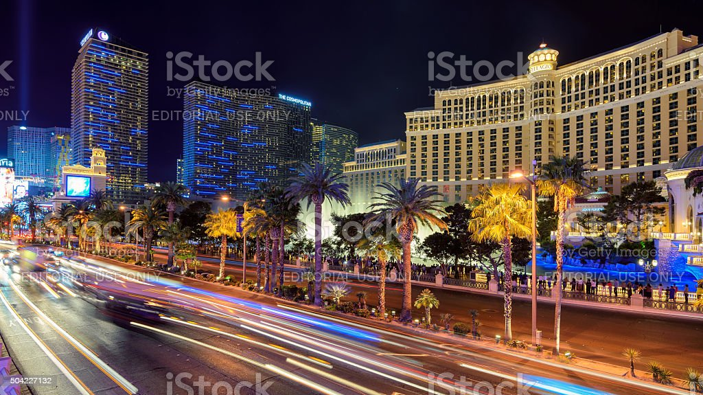 Las Vegas, USA - March 26 2015: Night illumination Strip stock photo