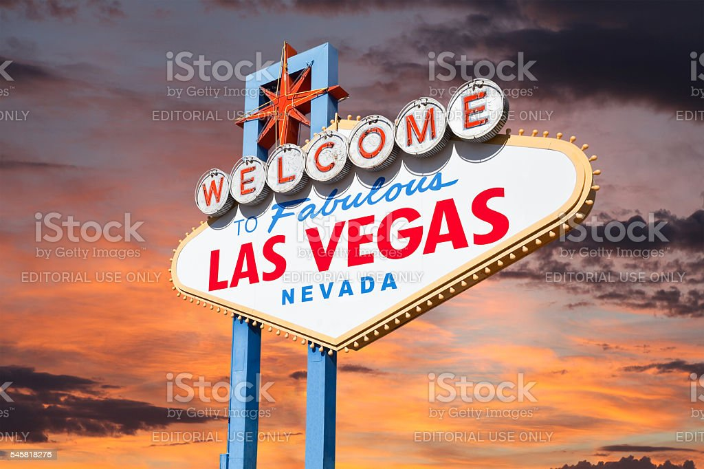 Las Vegas Welcome Sign with Sunrise Sky stock photo