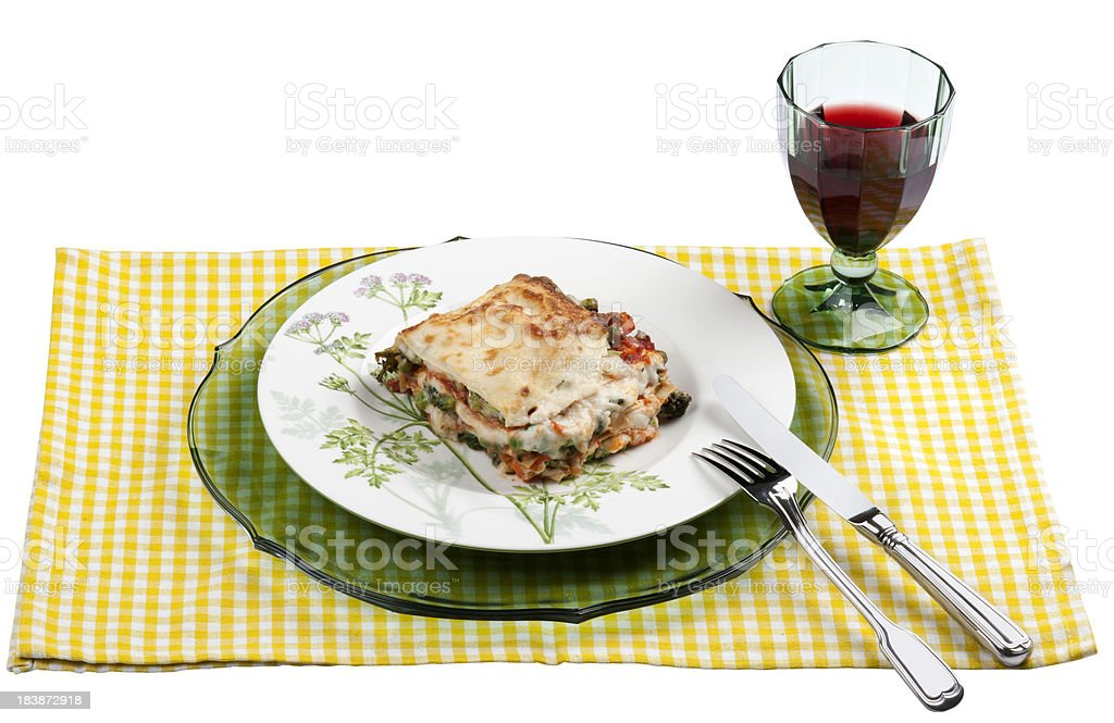 Lasagna and red wine stock photo