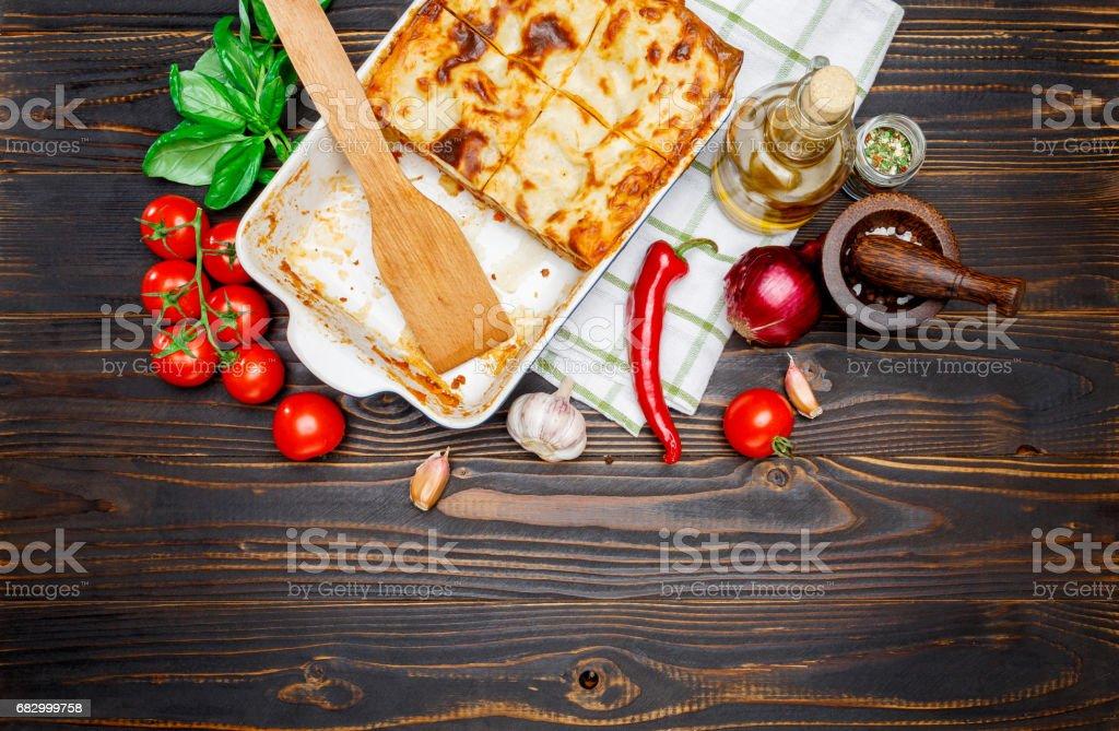 Lasagna in baking dish foto de stock royalty-free