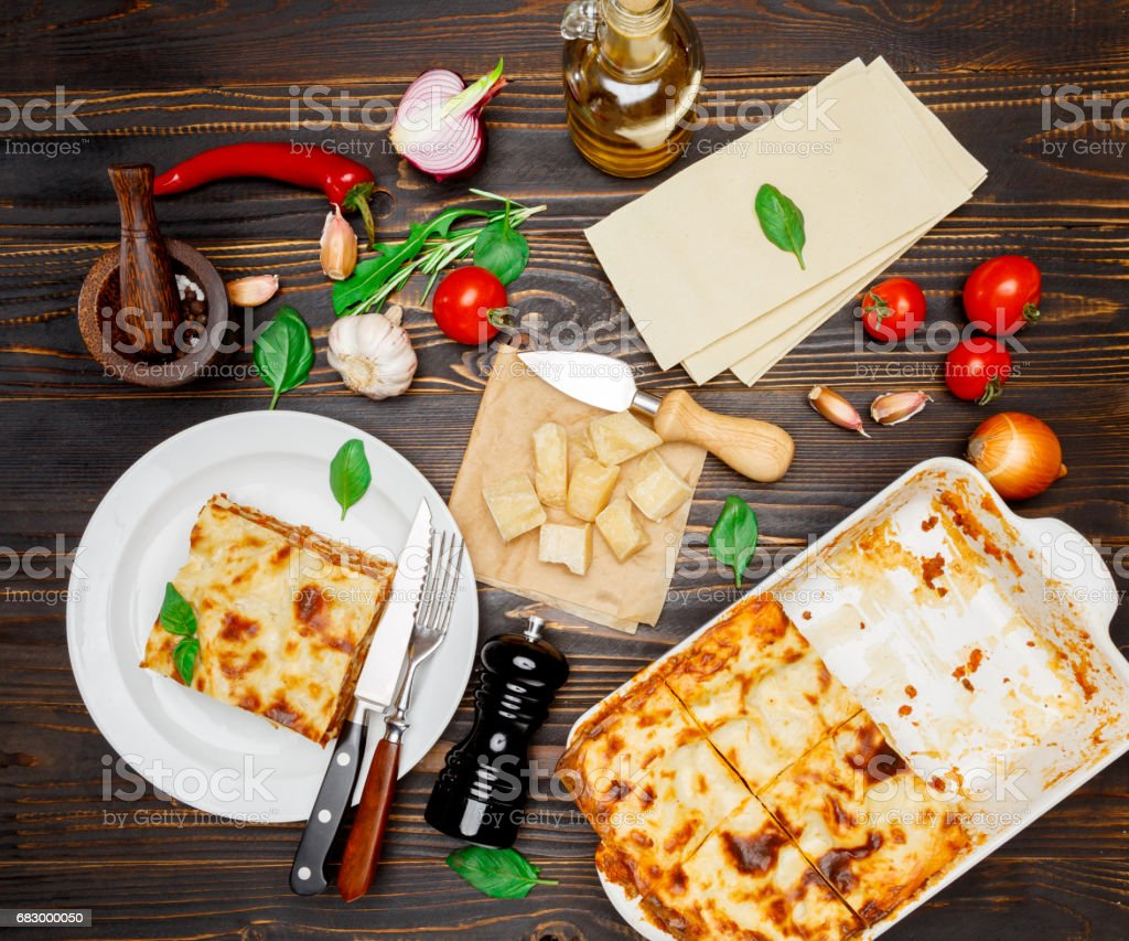 Lasagna in baking dish royalty-free stock photo