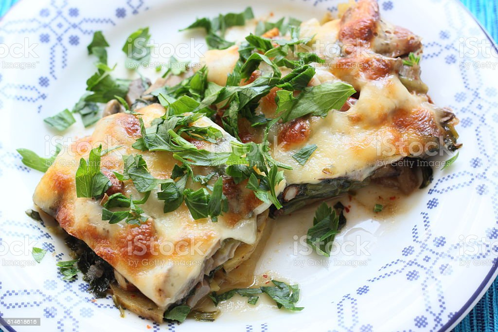 Lasagna with Fresh Herbs stock photo