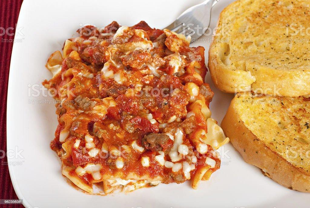 Lasagna With Garlic Toast royalty-free stock photo
