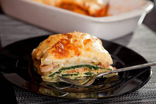 Lasagne mit Spinat und Lachs – Foto