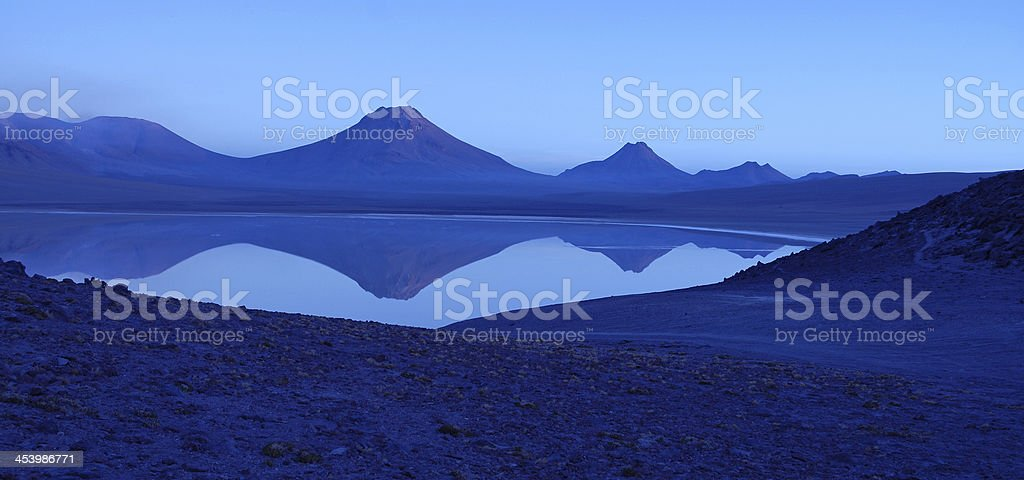 Lascar Volcano Reflection, Chile stock photo