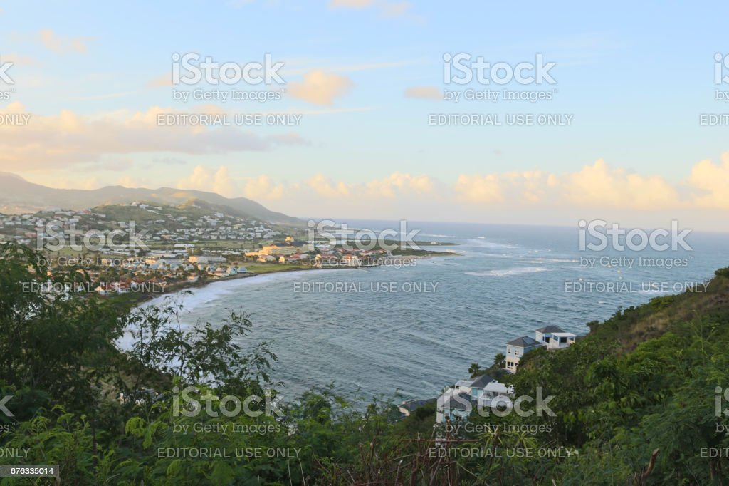 Lasdscape view of the Atlantic Ocean at Saint Kitts and Nevis stock photo