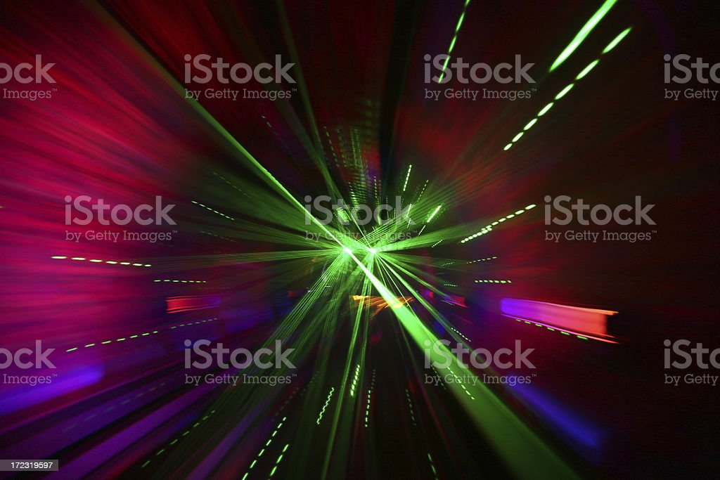 Laser Beams In Tunnel stock photo