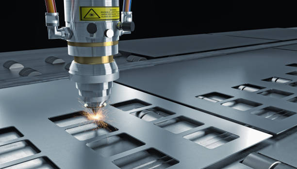 laser cut machine stock photo