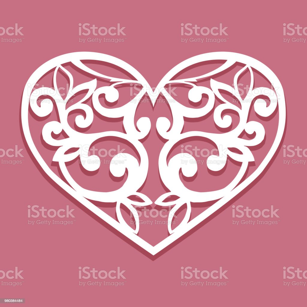 Laser Cut Paper Decoration Hearts Template For Interior
