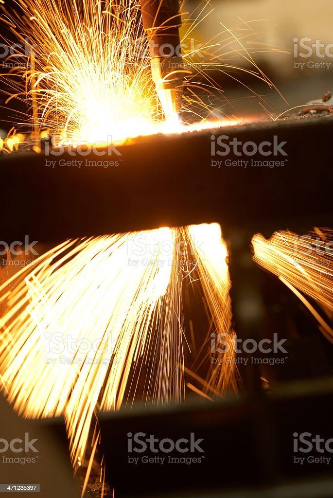 Laser cutting closeup stock photo