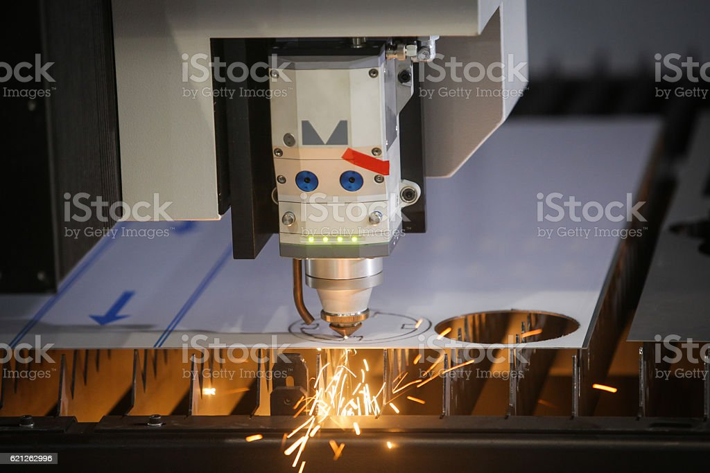 Laser cutting metal stock photo