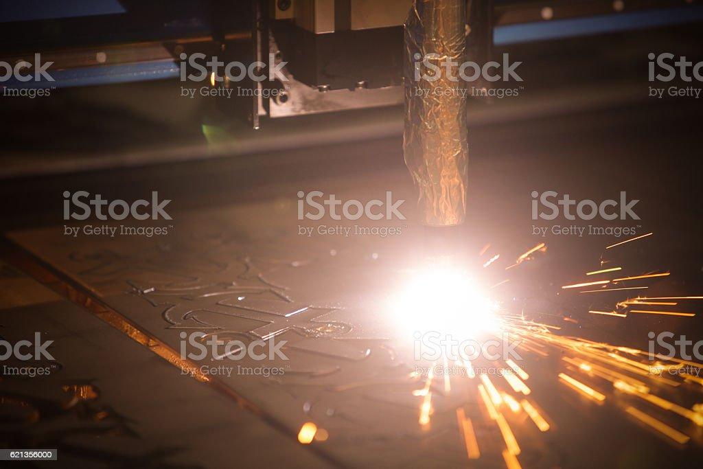 Laser cutting metal stock photo