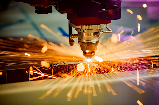 Cnc Laser Cutting Of Metal Modern Industrial Technology Stock Photo - Download Image Now