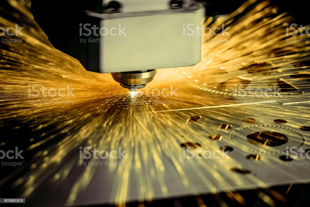 CNC Laser cutting of metal, modern industrial technology. . stock photo