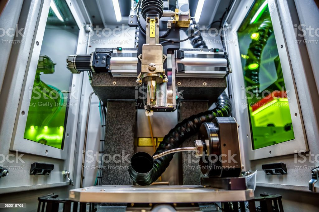 CNC Laser cutting of metal, modern industrial technology. foto stock royalty-free