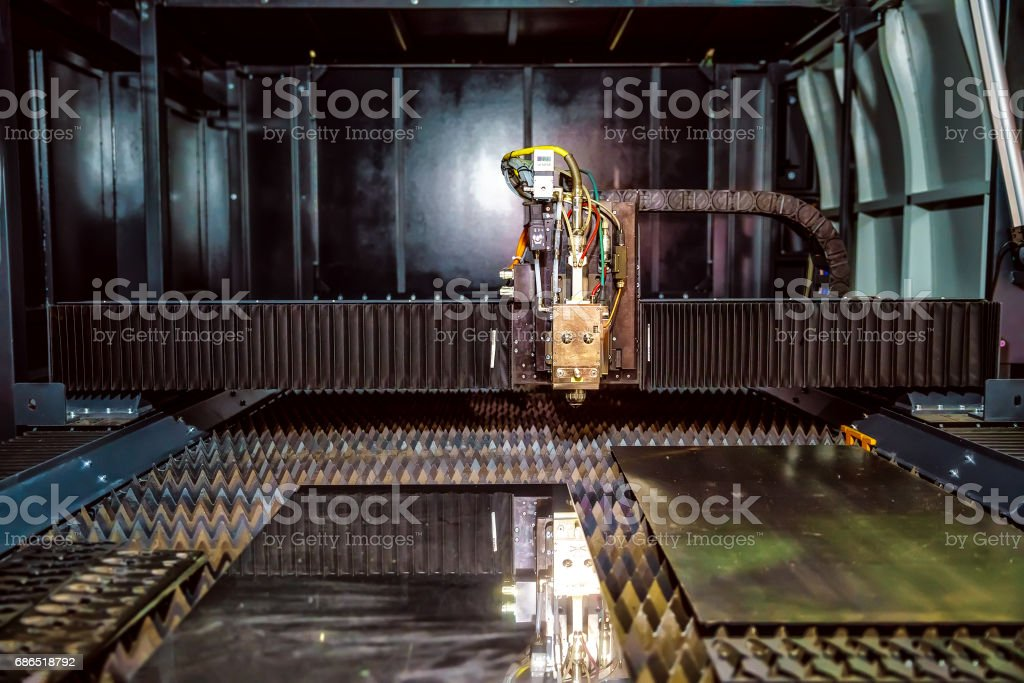 CNC Laser cutting of metal, modern industrial technology. royalty-free stock photo