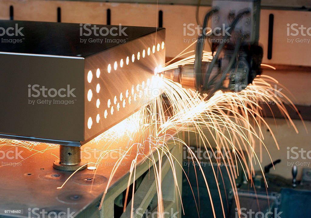 laser cutting robot stock photo