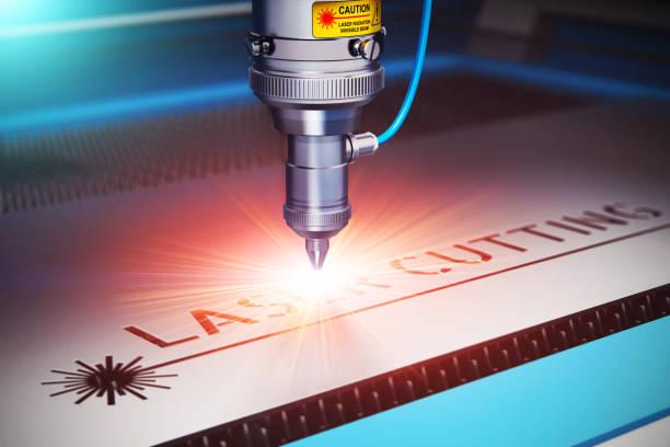 découpe laser technologie - gravure à photos et images de collection