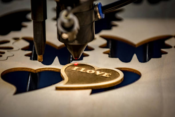 Laser engraving and cutting machine stock photo