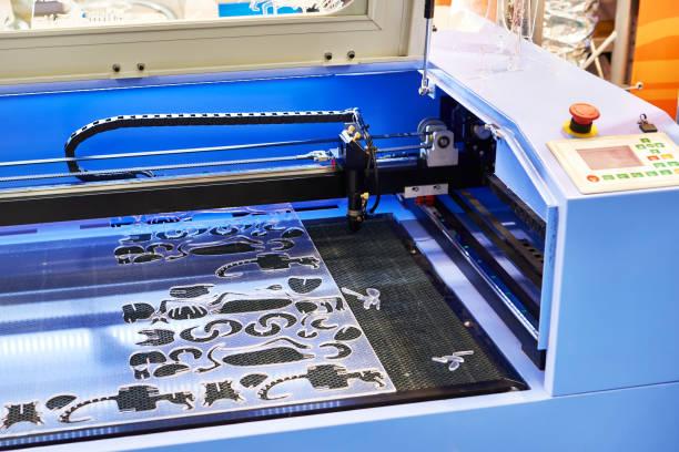 Laser engraving machine stock photo